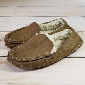 Other - LAST CHANCE! Cozy Tan Suede Faux Leather Slippers